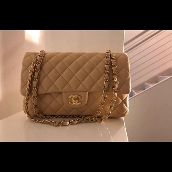 9a17c5b6d68547 CHANEL Bags | Sold Ml Claire Beige Lambskin Double Flap | Poshmark